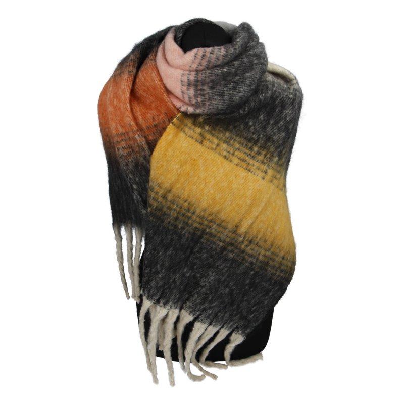 Barevná dámská šála, černá/žlutá