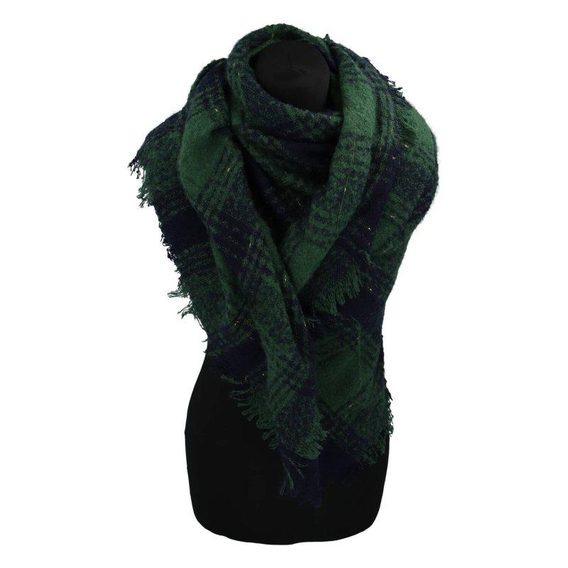 Zimní kostkovaná šála s přísměsí vlny, zelená