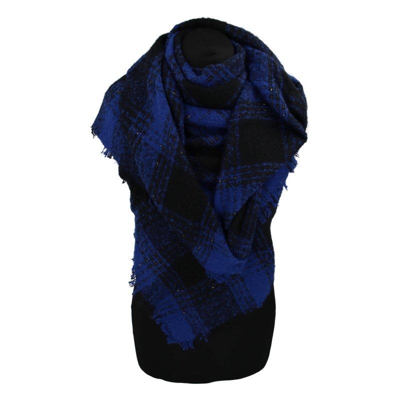 Zimní kostkovaná šála s přísměsí vlny, modrá