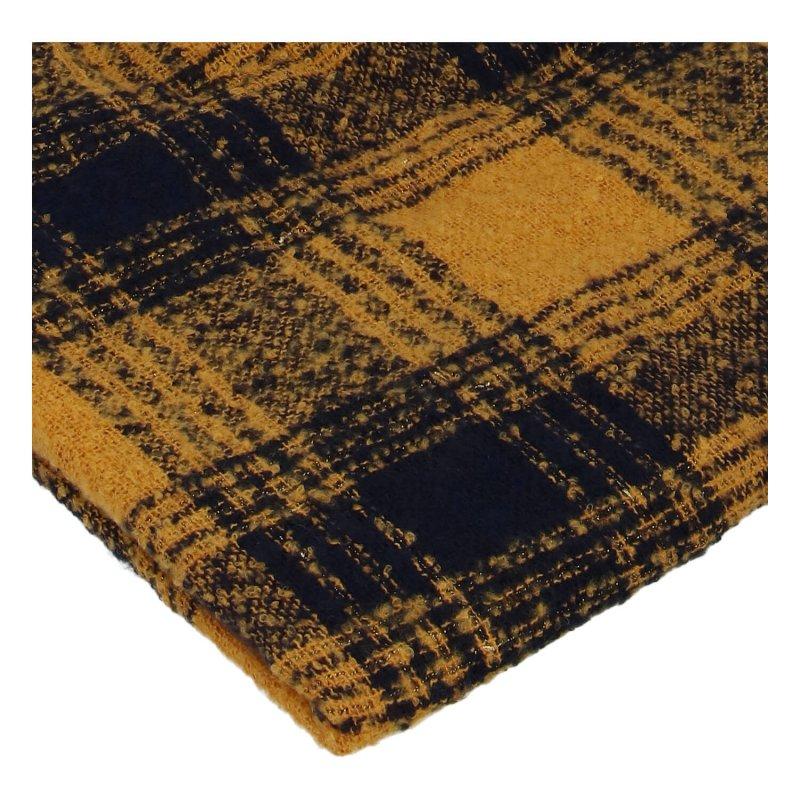 Zimní kostkovaná šála s přísměsí vlny, žlutá