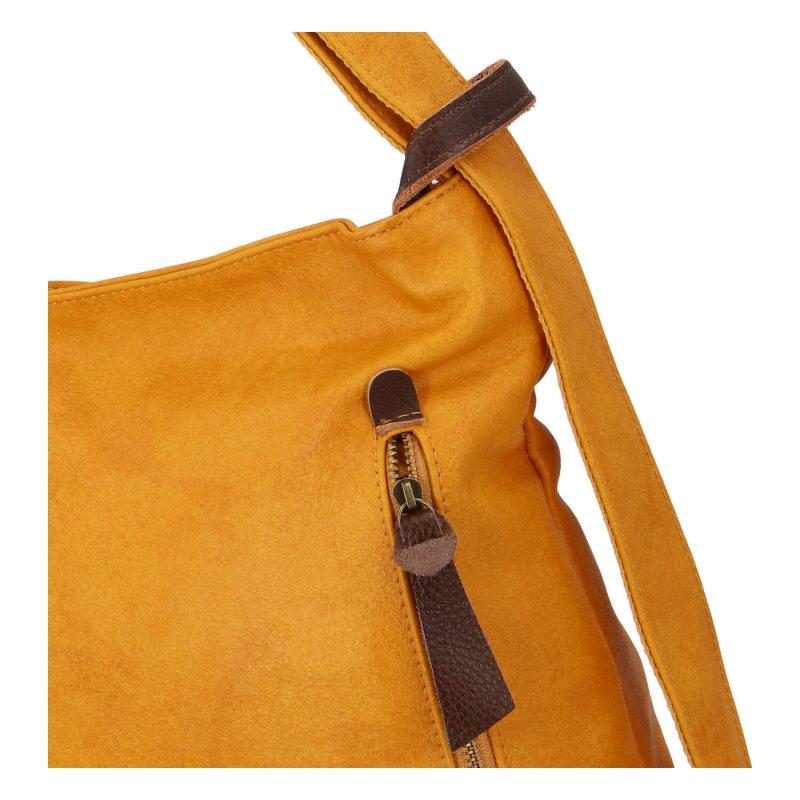 Moderní koženkový kabelko batoh Lenka Stylish, žlutý