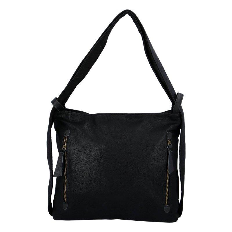 Moderní koženkový kabelko batoh Lenka Stylish, černý