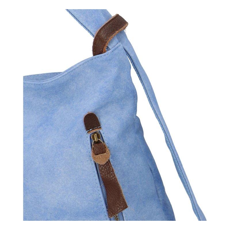 Moderní koženkový kabelko batoh Lenka Stylish, světle modrý