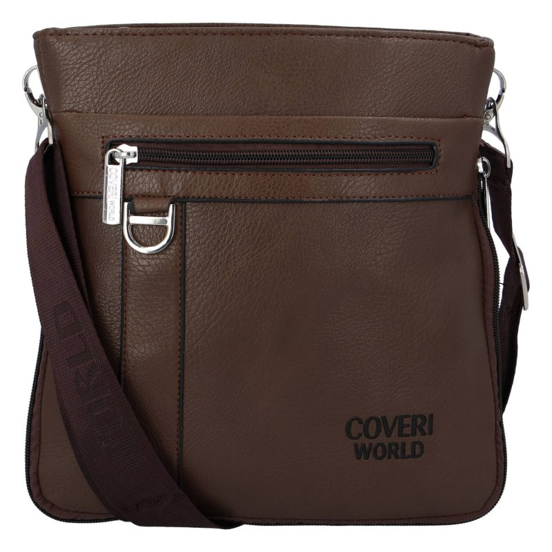 Praktická pánská koženková taška Coveri style, hnědá