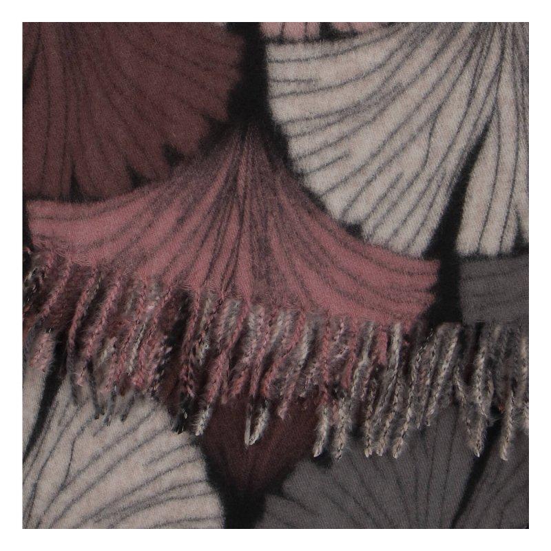 Kašmírová barevná šála s motivem listů, růžová