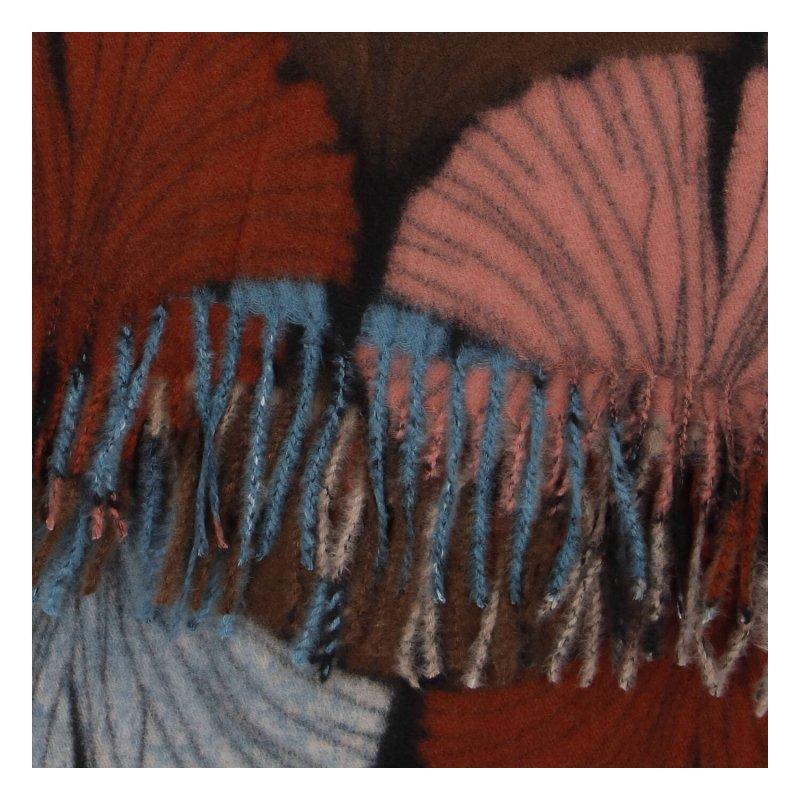 Kašmírová barevná šála s motivem listů, hnědá - růžová