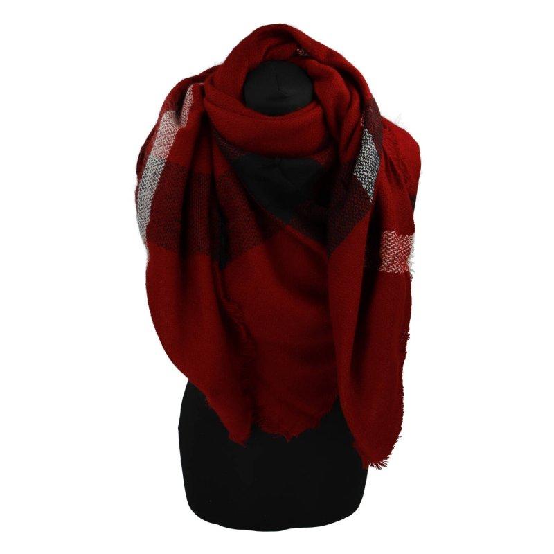 Kostkovaná šála, čtvercová, červená