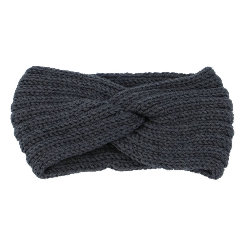 Pletená čelenka, tmavě šedá