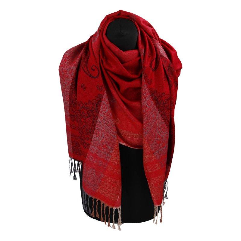 Kašmírová šála pruhovaná s ornamentem Indie, červená