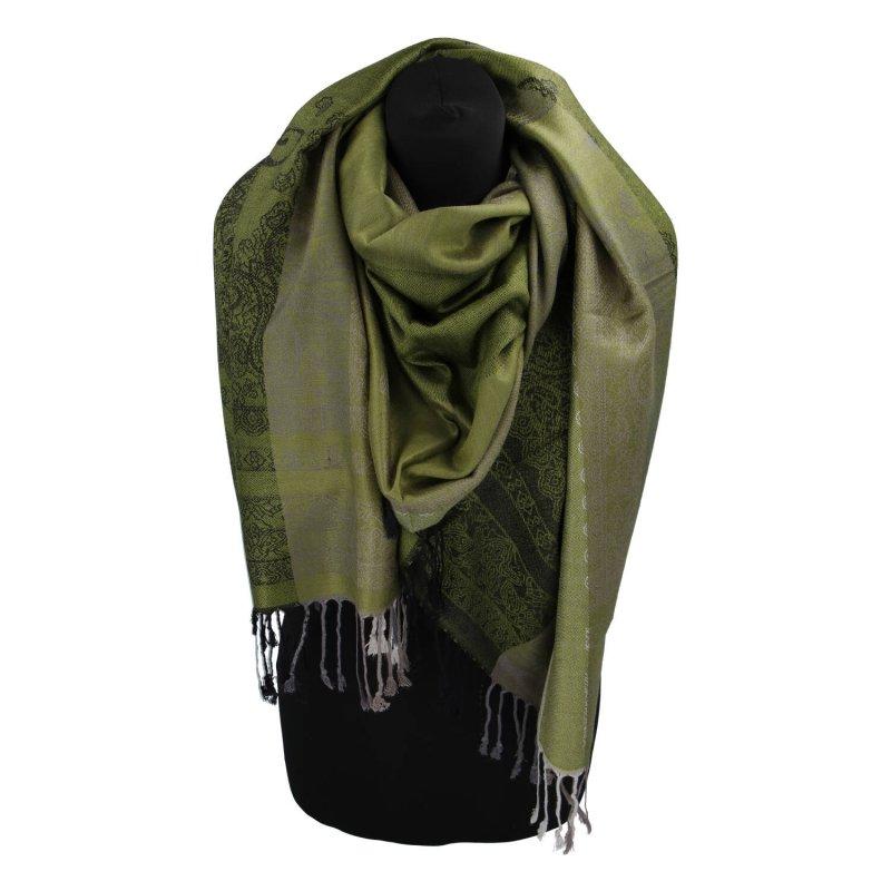 Kašmírová šála pruhovaná s ornamentem Indie, zelená