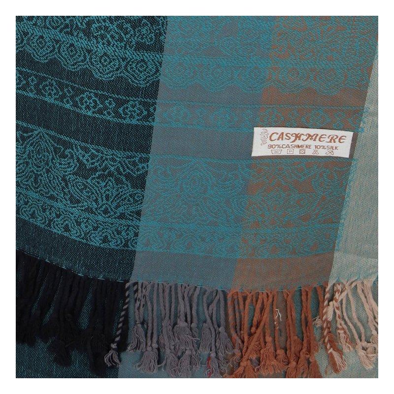 Kašmírová šála pruhovaná s ornamentem Indie, tyrkysová