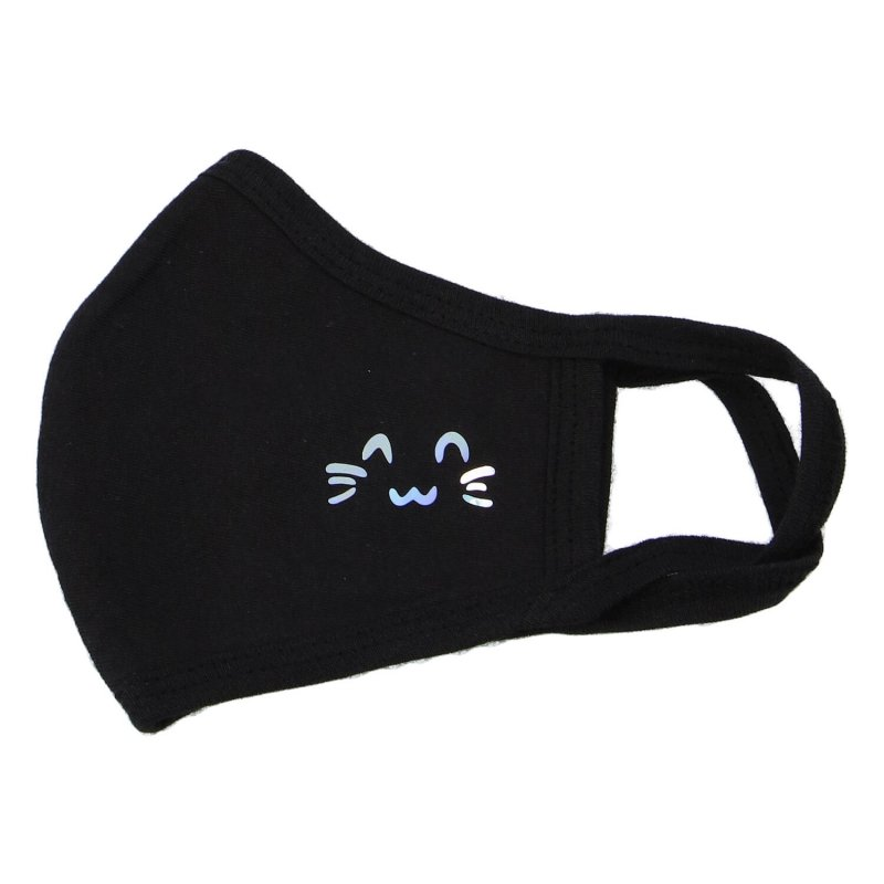 Bavlněná rouška, dvouvrstvá, černá, Kitty, velikost M