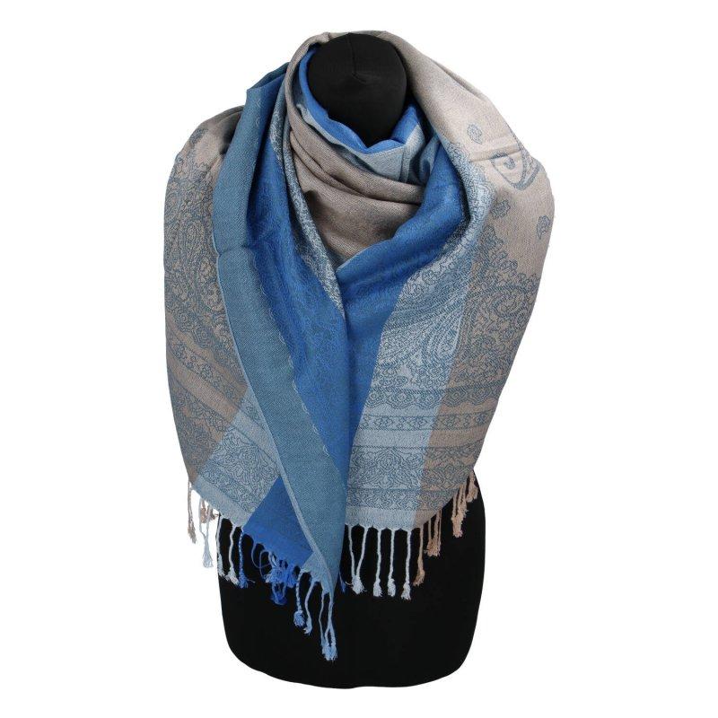 Kašmírová šála pruhovaná s ornamentem Indie, modrá/ tyrkysová