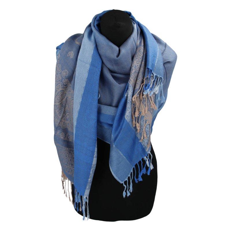 Kašmírová šála pruhovaná s ornamentem Indie, modrá