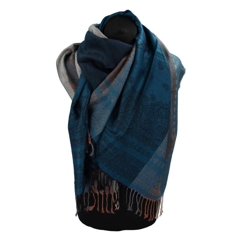 Kašmírová šála pruhovaná s ornamentem Indie, tmavě tyrkysová