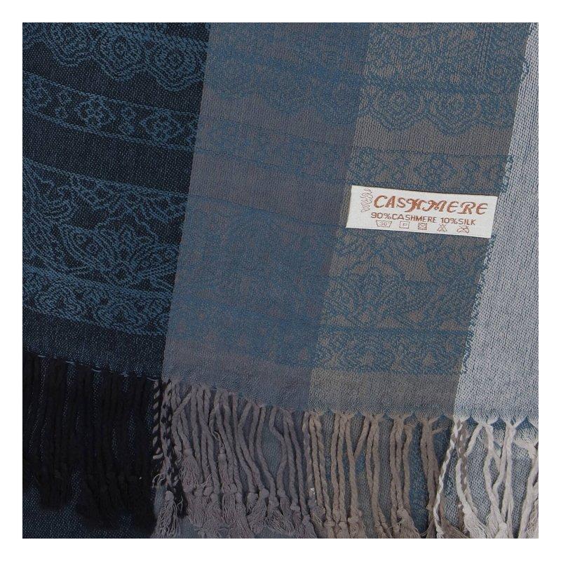 Kašmírová šála pruhovaná s ornamentem Indie, modro-černá