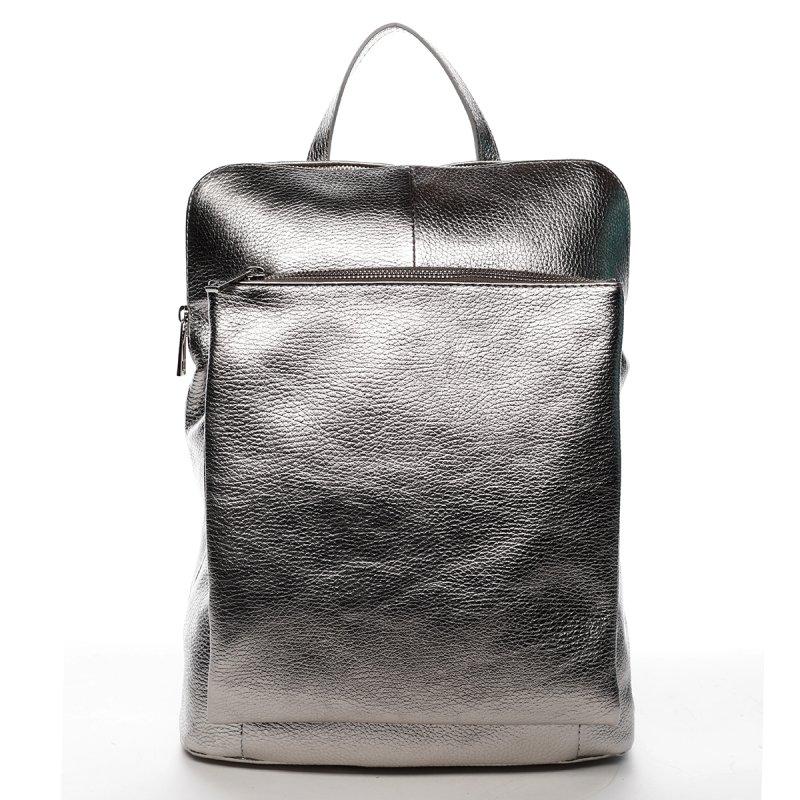 Dámský velký a praktický kožený batůžek/kabelka Albert stříbrná