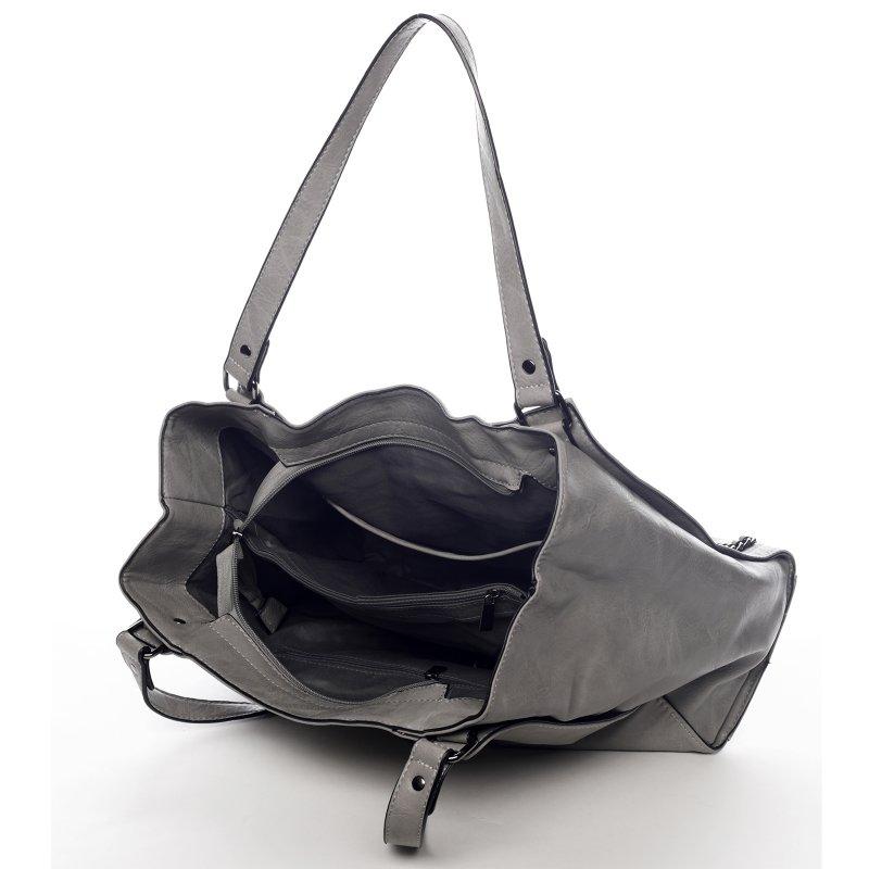 Praktická dámská koženková kabelka Sarah Zoe šedá