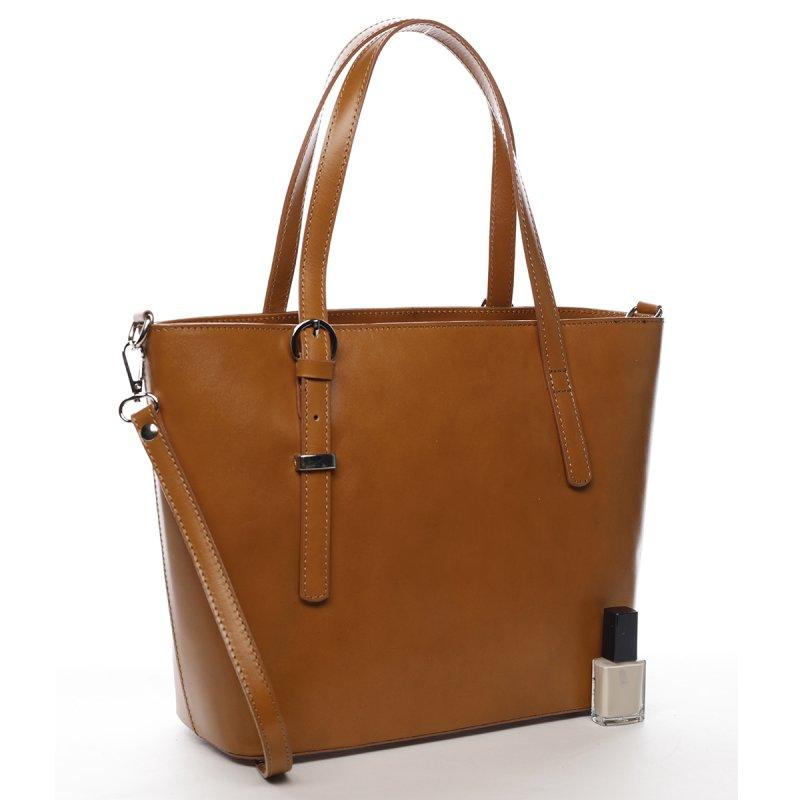 Pevná dámská kožená velká taška Lucy koňaková