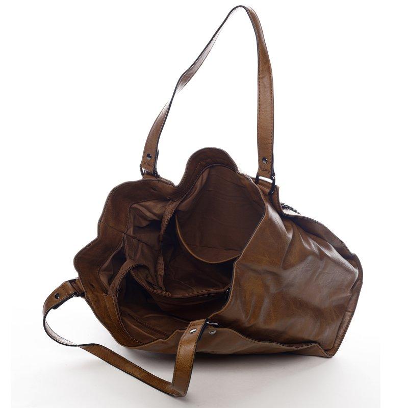 Praktická dámská koženková kabelka Sarah Zoe hnědá