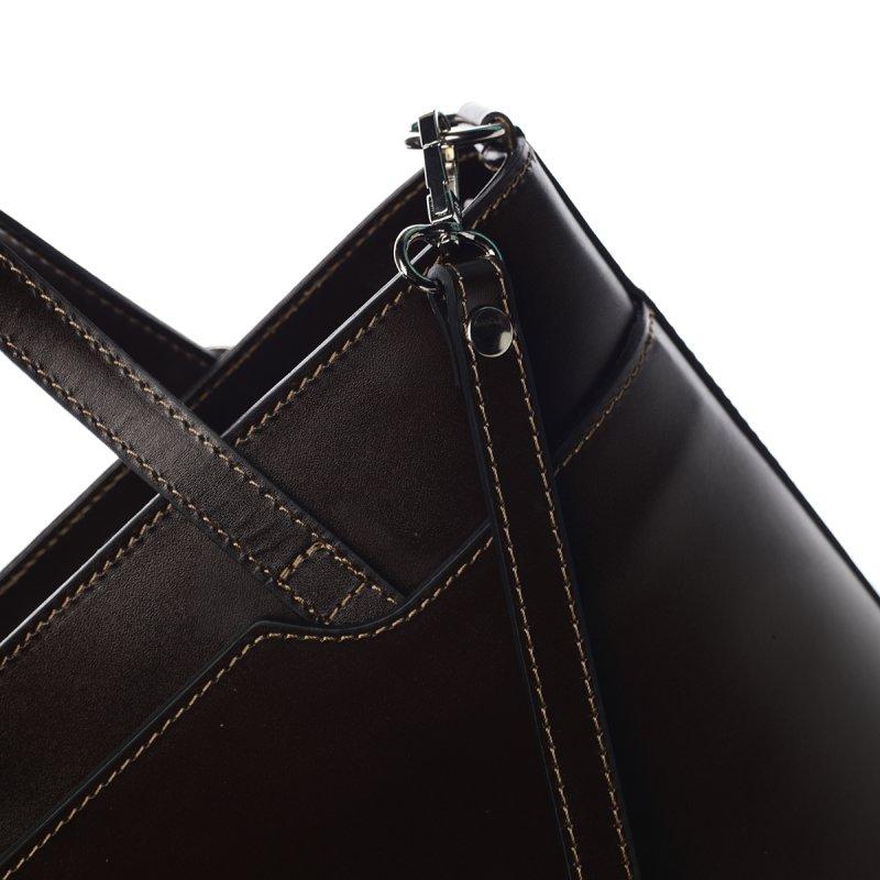 Pevná dámská kožená velká taška Lucy tmavě hnědá