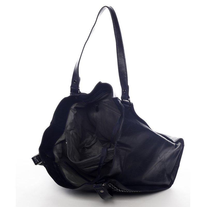 Praktická dámská koženková kabelka Sarah Zoe tmavě modrá