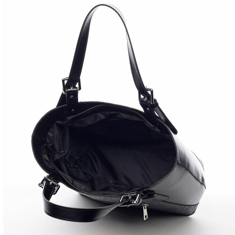 Pevná dámská kožená taška s nepřehlédnutelným motivem Shannon černá