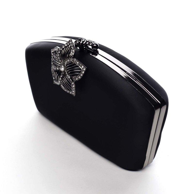 Dámské psaníčko s květinou Maya, černé