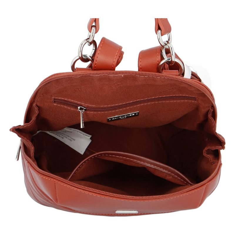 Praktický dámský koženkový batůžek Nina, sienna