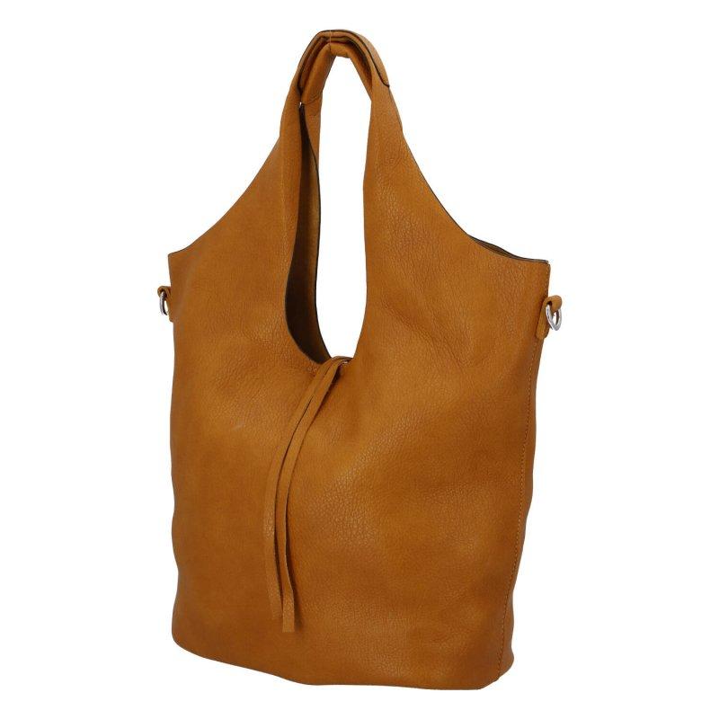Trendová dámská koženková kabelka Esma, žlutá