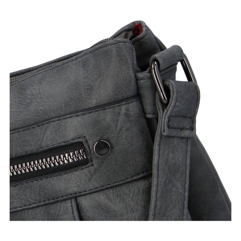 Praktická dámská koženková kabelka Sybilka, šedá