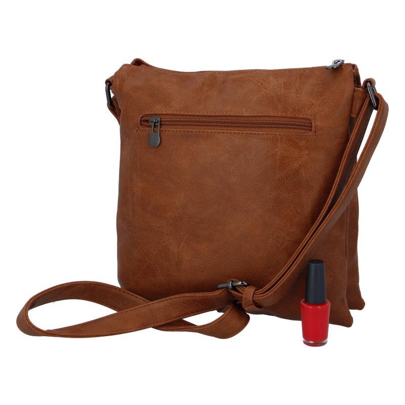 Praktická dámská koženková kabelka Sybilka, hnědá