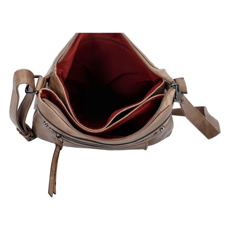 Praktická dámská koženková kabelka Sybilka, soil