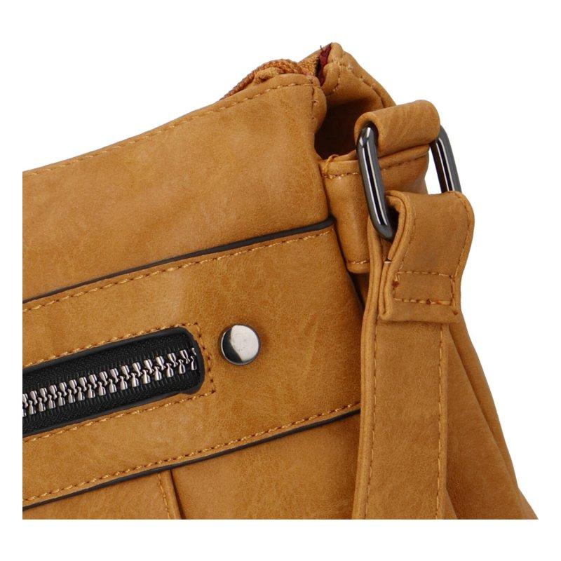 Praktická dámská koženková kabelka Sybilka, žlutá
