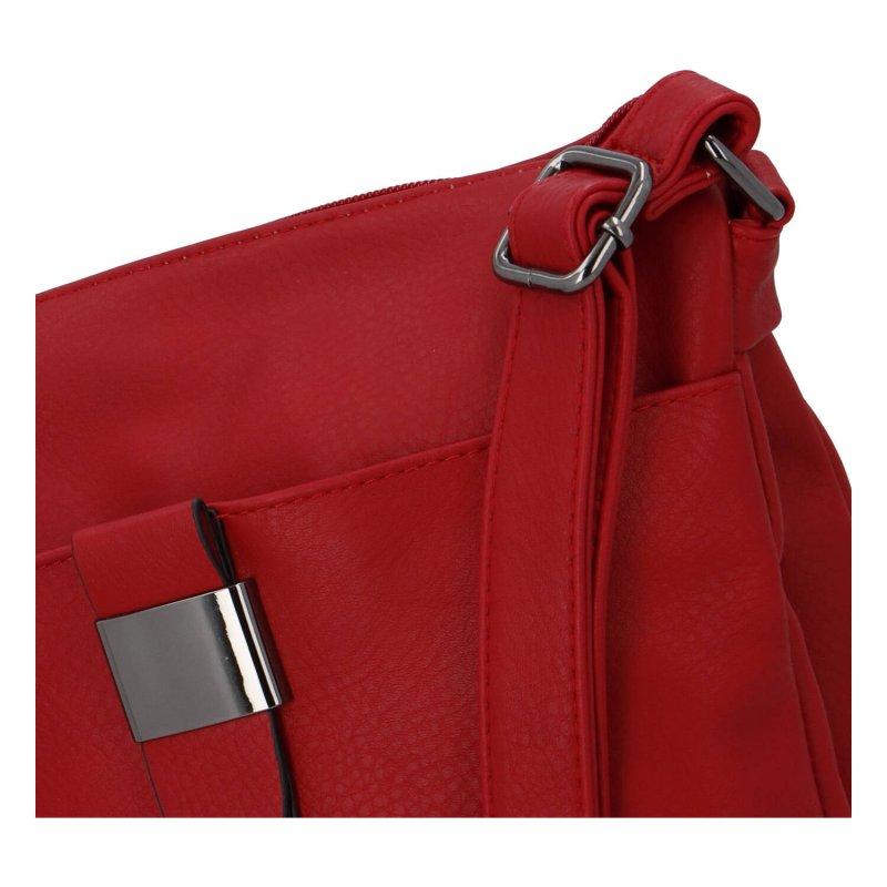 Praktická dámská koženková crossbody kabelka Erika, červená