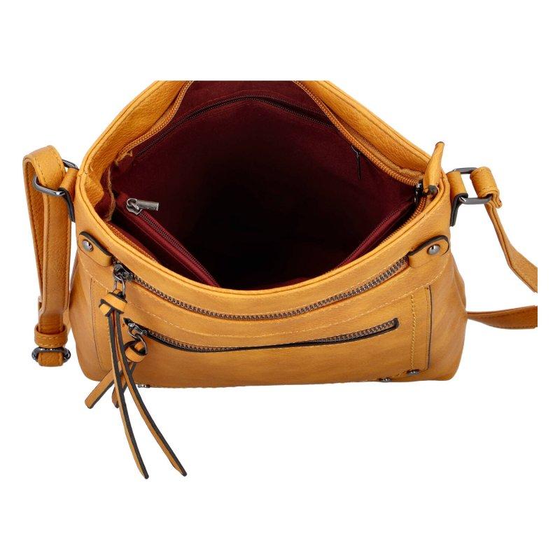 Praktická dámská koženková crossbody kabelka Erica, žlutá