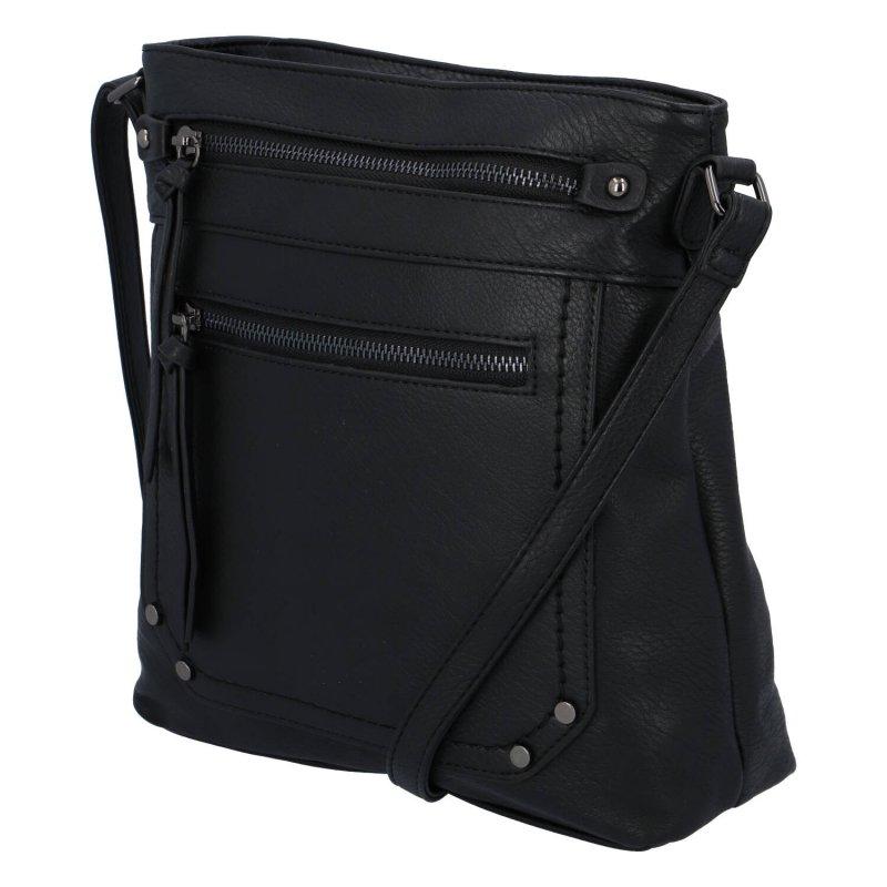 Praktická dámská koženková crossbody kabelka Erica, černá