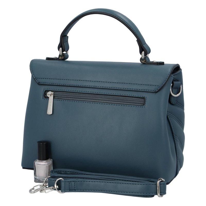 Zajímavá dámská koženková kabelka do ruky Claire, zelenomodrá
