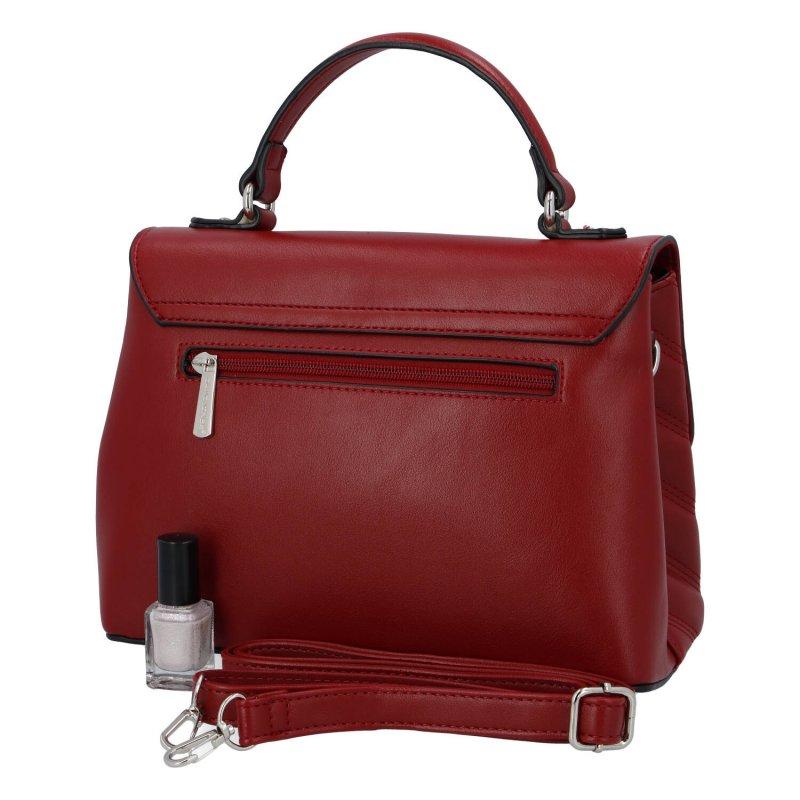 Zajímavá dámská koženková kabelka do ruky Claire, červená