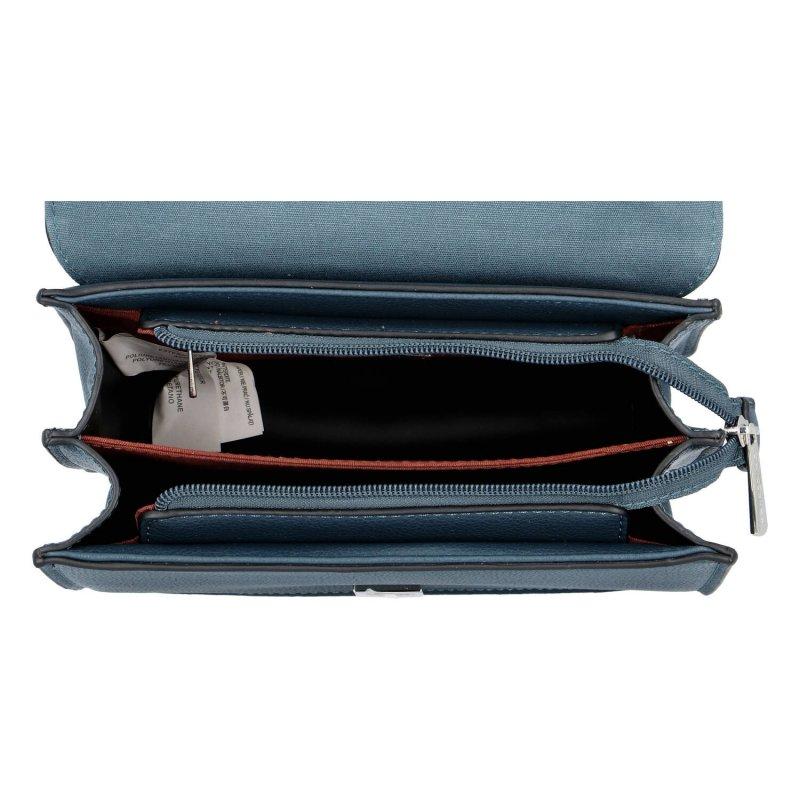 Nepřehlédnutelná pevná dámská koženková kabelka do ruky Rose, zelenomodrá