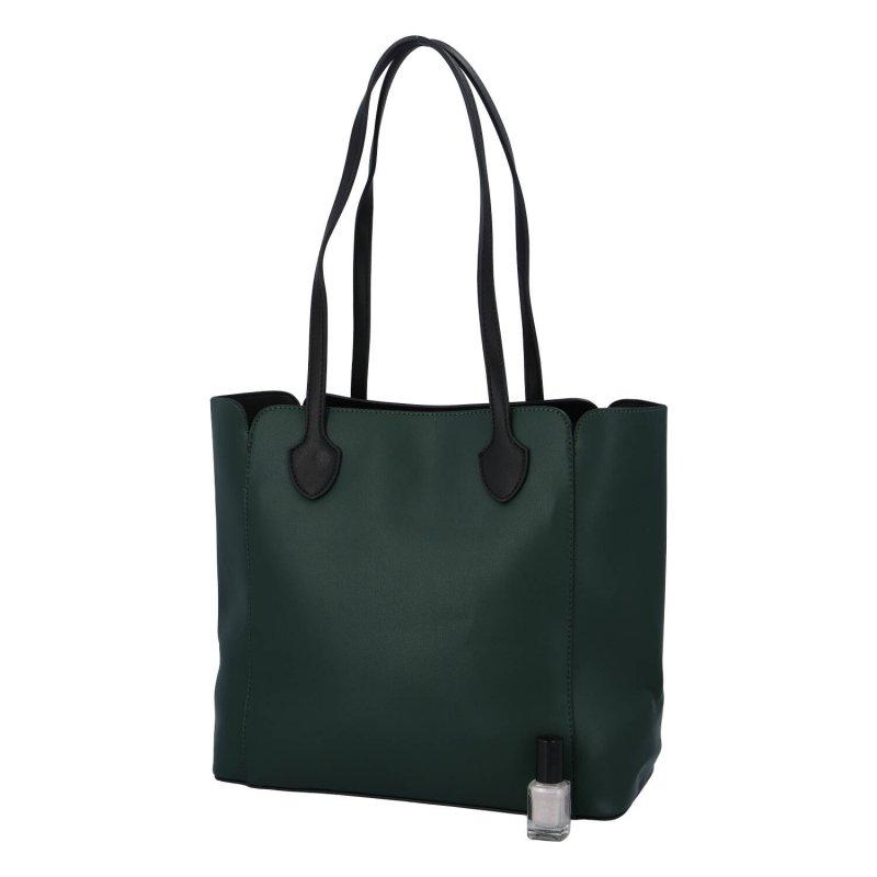 Velká a příjemná dámská koženková taška Amelia, tmavě zelená