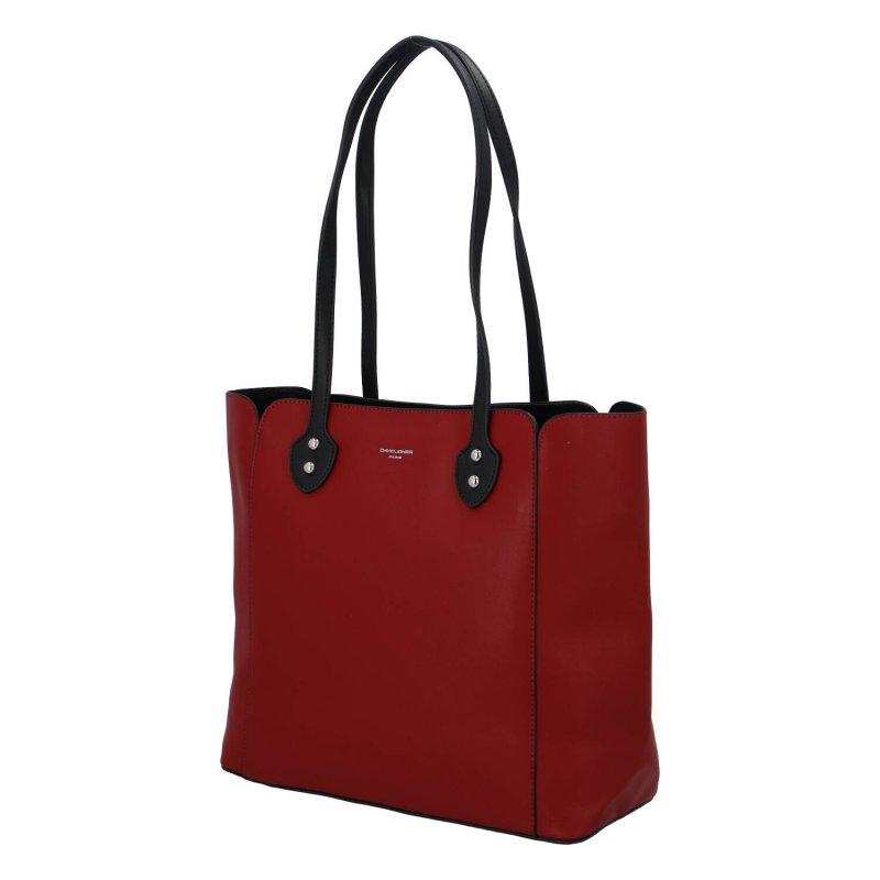 Velká a příjemná dámská koženková taška Amelia, tmavě červená