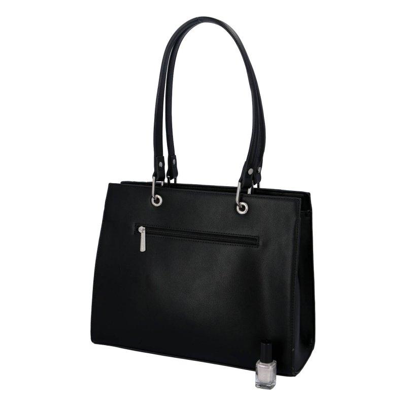 Velká elegantní dámská koženková taška Becca, černá