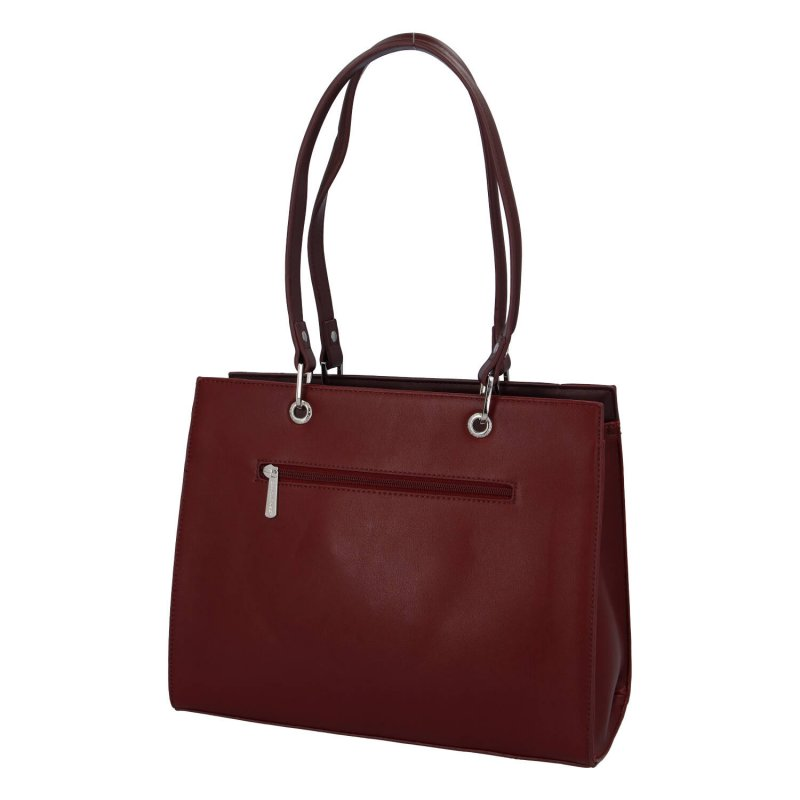 Velká elegantní dámská koženková taška Becca, vínová
