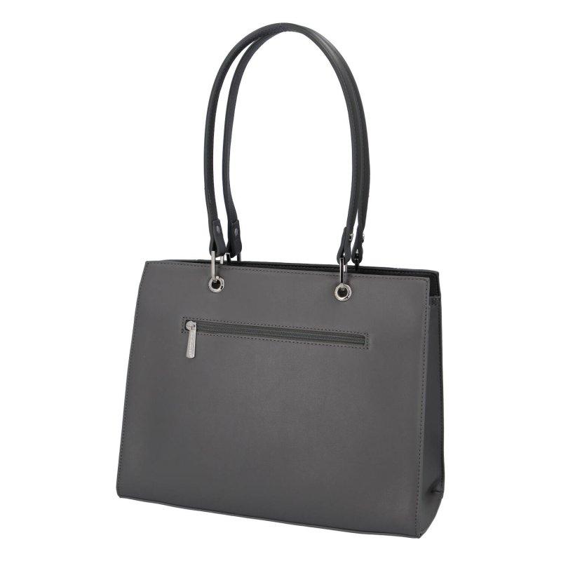 Velká elegantní dámská koženková taška Becca, tmavě šedá