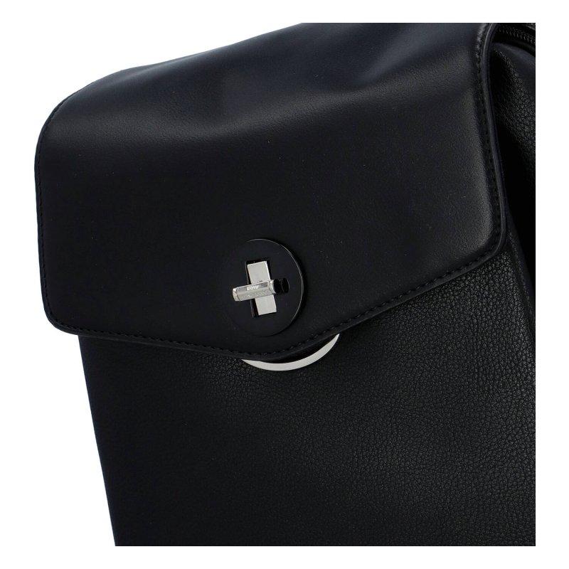 Pěkný městský koženkový dámský batůžek Nicola, černá