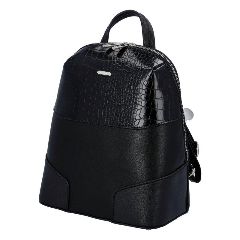 Pevný a elegantní dámský koženkový městský batůžek Rhiannon, černá