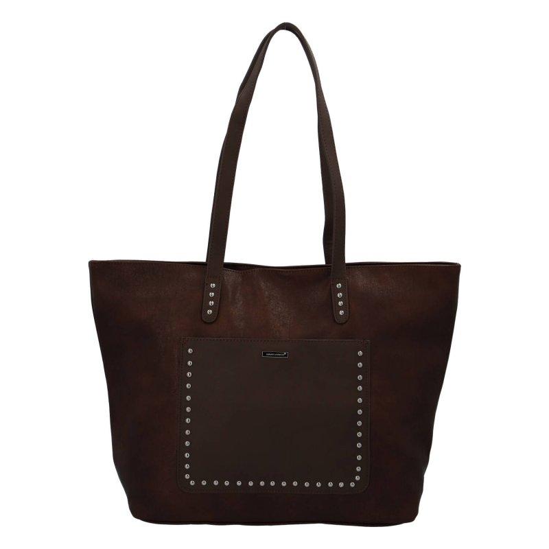 Módní velká dámská koženková taška Leanne, tmavě hnědá
