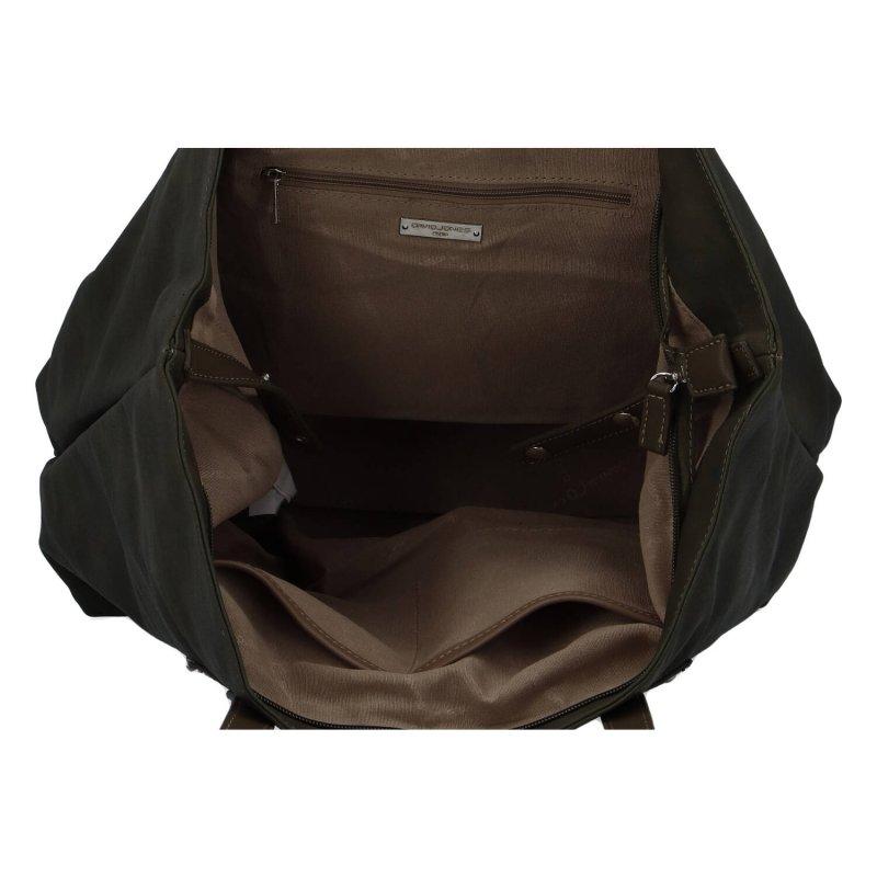 Módní velká dámská koženková taška Leanne, hnědozelená