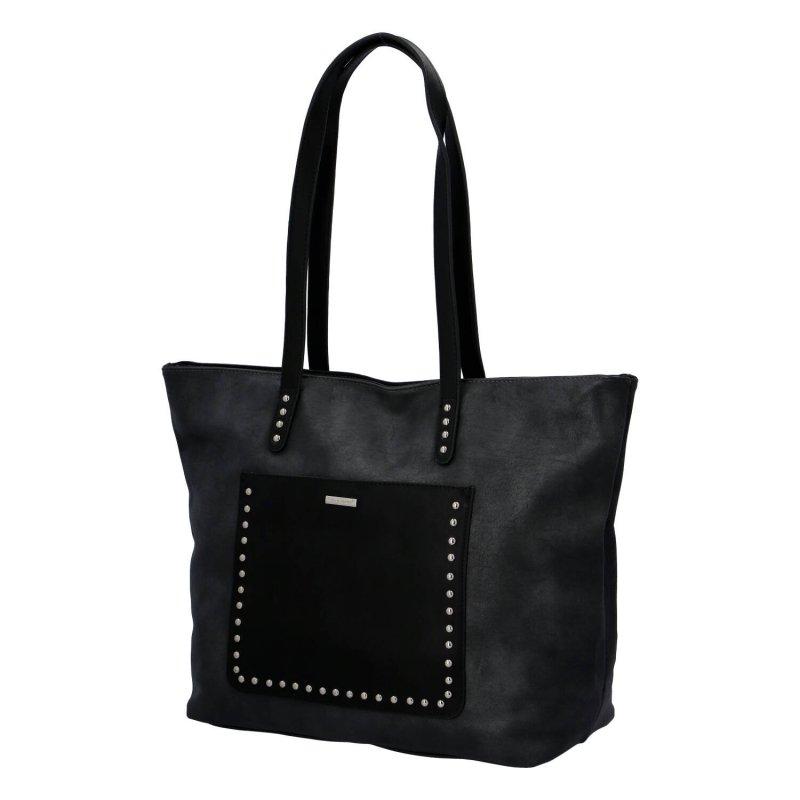 Módní velká dámská koženková taška Leanne, černá